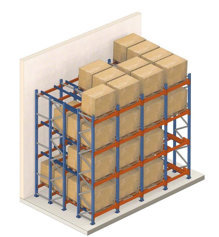 push back pallet racking Saves space |  Loading and unloading carried out in a central aisle | High storage density