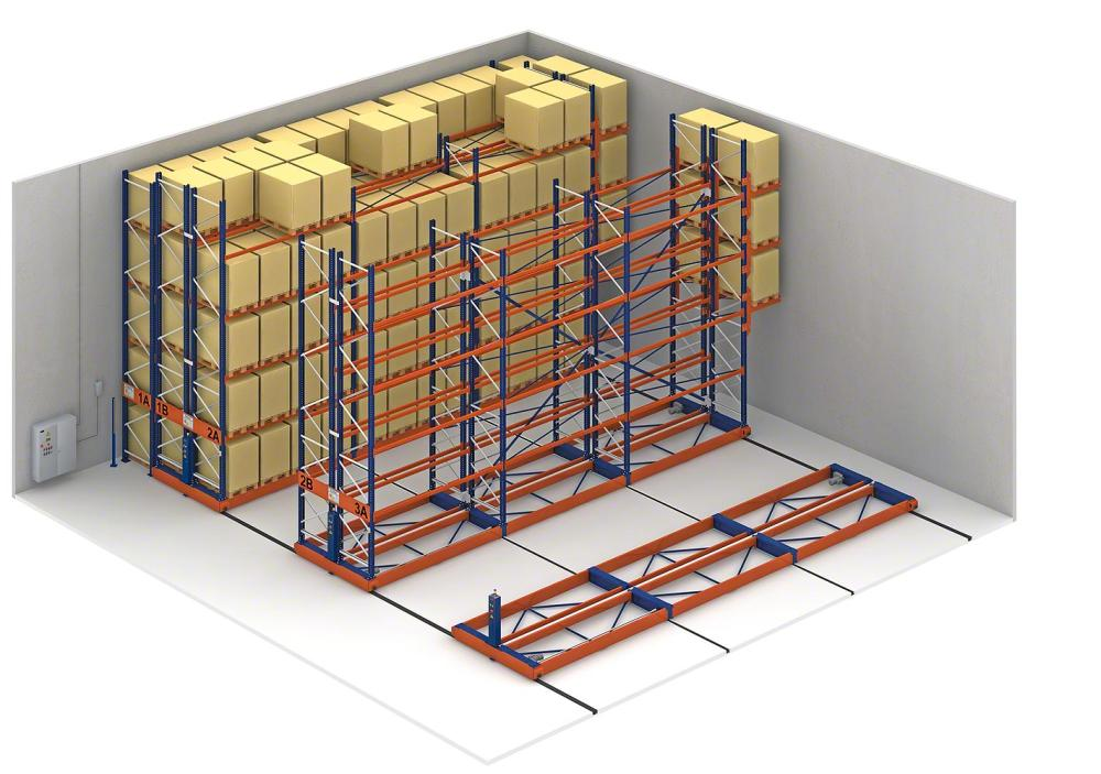 Increase in warehouse capacity with mobile racking.