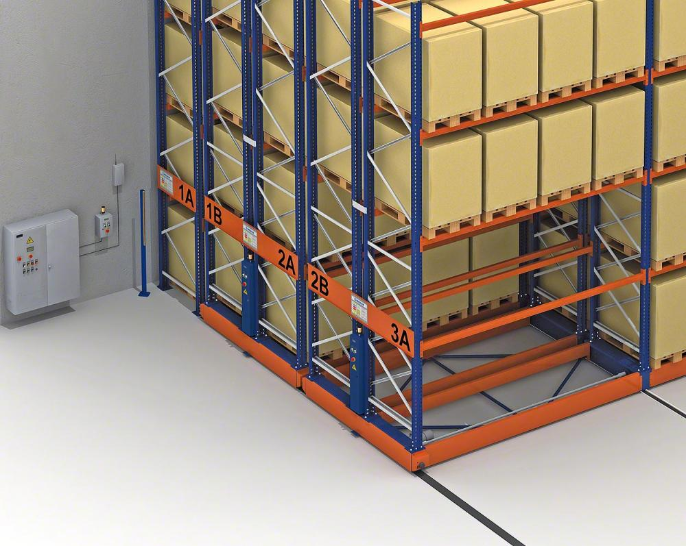 mobile pallet racking is laid on tracks which eliminates the need for access aisles