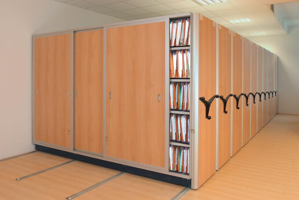 mobile shelving systems are available in a choice of colors and wood finish panel shelving.  Mobile shelving / rail shelving system applications include spare parts outlets, bookshops, pharmacies, as well as the most popular application as library or document archives